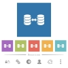 Syncronize databases flat white icons in square backgrounds - Syncronize databases flat white icons in square backgrounds. 6 bonus icons included.