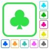 Club card symbol vivid colored flat icons - Club card symbol vivid colored flat icons in curved borders on white background