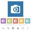 Monochrome photos flat white icons in square backgrounds - Monochrome photos flat white icons in square backgrounds. 6 bonus icons included.