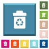 Recycle bin white icons on edged square buttons - Recycle bin white icons on edged square buttons in various trendy colors