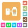 Contactless payment rounded square flat icons - Contactless payment flat icons on rounded square vivid color backgrounds.