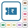 Indian Rupee discount coupon simple icons - Indian Rupee discount coupon simple icons in color rounded square frames on white background