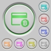 Bitcoin credit card color icons on sunk push buttons - Bitcoin credit card push buttons