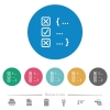 Source code checking flat round icons - Source code checking flat white icons on round color backgrounds. 6 bonus icons included.