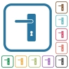 Left handed simple door handle simple icons - Left handed simple door handle simple icons in color rounded square frames on white background