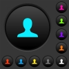 Blank user avatar dark push buttons with color icons - Blank user avatar dark push buttons with vivid color icons on dark grey background
