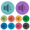 Left audio channel color darker flat icons - Left audio channel darker flat icons on color round background