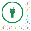 Air control tower flat icons with outlines - Air control tower flat color icons in round outlines on white background