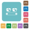 Conveyor with boxes rounded square flat icons - Conveyor with boxes white flat icons on color rounded square backgrounds