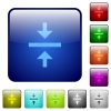 Vertical align center icons in rounded square color glossy button set - Vertical align center color square buttons