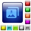 Upload multiple images color square buttons - Upload multiple images icons in rounded square color glossy button set