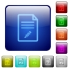 Edit document icons in rounded square color glossy button set - Edit document color square buttons