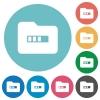 Processing folder flat round icons - Processing folder flat white icons on round color backgrounds
