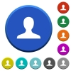 Blank user avatar round color beveled buttons with smooth surfaces and flat white icons - Blank user avatar beveled buttons