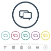 Chat bubbles flat color icons in round outlines. 6 bonus icons included. - Chat bubbles flat color icons in round outlines