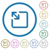 Resize object icons with shadows and outlines - Resize object flat color vector icons with shadows in round outlines on white background