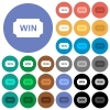 Winner ticket round flat multi colored icons - Winner ticket multi colored flat icons on round backgrounds. Included white, light and dark icon variations for hover and active status effects, and bonus shades.
