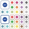 24 hours seven sticker outlined flat color icons - 24 hours seven sticker color flat icons in rounded square frames. Thin and thick versions included.