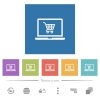 Webshop flat white icons in square backgrounds - Webshop flat white icons in square backgrounds. 6 bonus icons included.