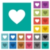 Heart card symbol square flat multi colored icons - Heart card symbol multi colored flat icons on plain square backgrounds. Included white and darker icon variations for hover or active effects.