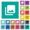 Photo library multi colored flat icons on plain square backgrounds. Included white and darker icon variations for hover or active effects. - Photo library square flat multi colored icons