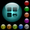 Print component icons in color illuminated glass buttons - Print component icons in color illuminated spherical glass buttons on black background. Can be used to black or dark templates
