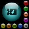 Paint shop discount coupon icons in color illuminated glass buttons - Paint shop discount coupon icons in color illuminated spherical glass buttons on black background. Can be used to black or dark templates
