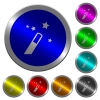 Magic wand icons on round luminous coin-like color steel buttons - Magic wand luminous coin-like round color buttons