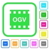 OGV movie format vivid colored flat icons in curved borders on white background