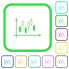 Candlestick graph with axes vivid colored flat icons - Candlestick graph with axes vivid colored flat icons in curved borders on white background
