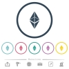 Ethereum classic digital cryptocurrency flat color icons in round outlines - Ethereum classic digital cryptocurrency flat color icons in round outlines. 6 bonus icons included.