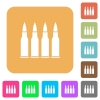 Four bullets rounded square flat icons - Four bullets flat icons on rounded square vivid color backgrounds.