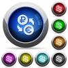 Ruble Euro money exchange round glossy buttons - Ruble Euro money exchange icons in round glossy buttons with steel frames