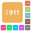 Emergency call 911 rounded square flat icons - Emergency call 911 flat icons on rounded square vivid color backgrounds.