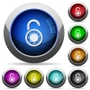 Unlocked round combination lock round glossy buttons - Unlocked round combination lock icons in round glossy buttons with steel frames