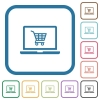 Webshop simple icons - Webshop simple icons in color rounded square frames on white background