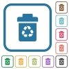 Recycle bin simple icons - Recycle bin simple icons in color rounded square frames on white background