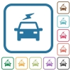 Electric car with flash simple icons - Electric car with flash simple icons in color rounded square frames on white background