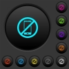 Smartphone not allowed dark push buttons with color icons - Smartphone not allowed dark push buttons with vivid color icons on dark grey background