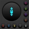 Mouse scroll up dark push buttons with color icons - Mouse scroll up dark push buttons with vivid color icons on dark grey background