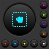 Drag item dark push buttons with vivid color icons on dark grey background - Drag item dark push buttons with color icons