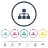Network flat color icons in round outlines. 6 bonus icons included. - Network flat color icons in round outlines