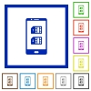 Dual SIM mobile flat framed icons - Dual SIM mobile flat color icons in square frames on white background