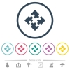 Modules flat color icons in round outlines. 6 bonus icons included. - Modules flat color icons in round outlines