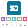 Jewelry store discount coupon flat icons on color rounded square backgrounds - Jewelry store discount coupon white flat icons on color rounded square backgrounds. 6 bonus icons included