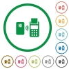 Contactless payment flat icons with outlines - Contactless payment flat color icons in round outlines on white background