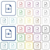 File preview outlined flat color icons - File preview color flat icons in rounded square frames. Thin and thick versions included.