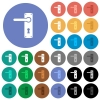 Left handed door handle with screws round flat multi colored icons - Left handed door handle with screws multi colored flat icons on round backgrounds. Included white, light and dark icon variations for hover and active status effects, and bonus shades.
