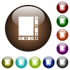 Blank document with scroll bars color glass buttons - Blank document with scroll bars white icons on round color glass buttons