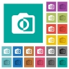 Monochrome photos square flat multi colored icons - Monochrome photos multi colored flat icons on plain square backgrounds. Included white and darker icon variations for hover or active effects.